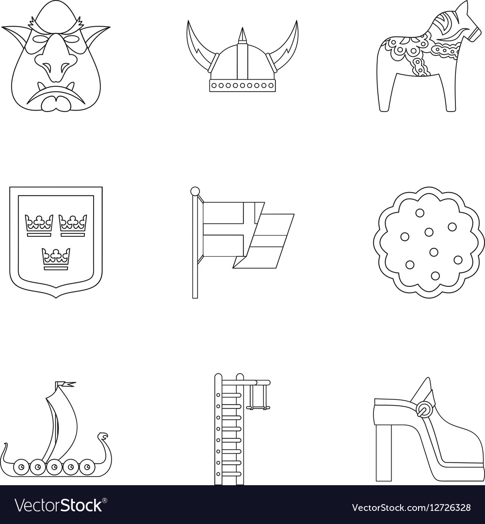 Country Sweden icons set outline style vector image