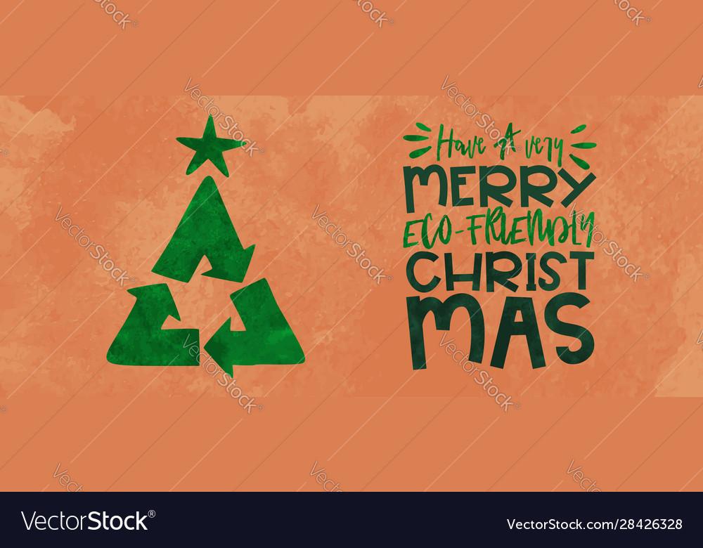 Green christmas card recycle symbol pine tree