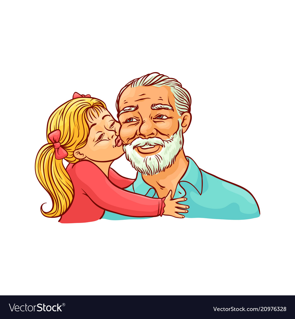 Kid girl kisses her grandfather on cheek isolated