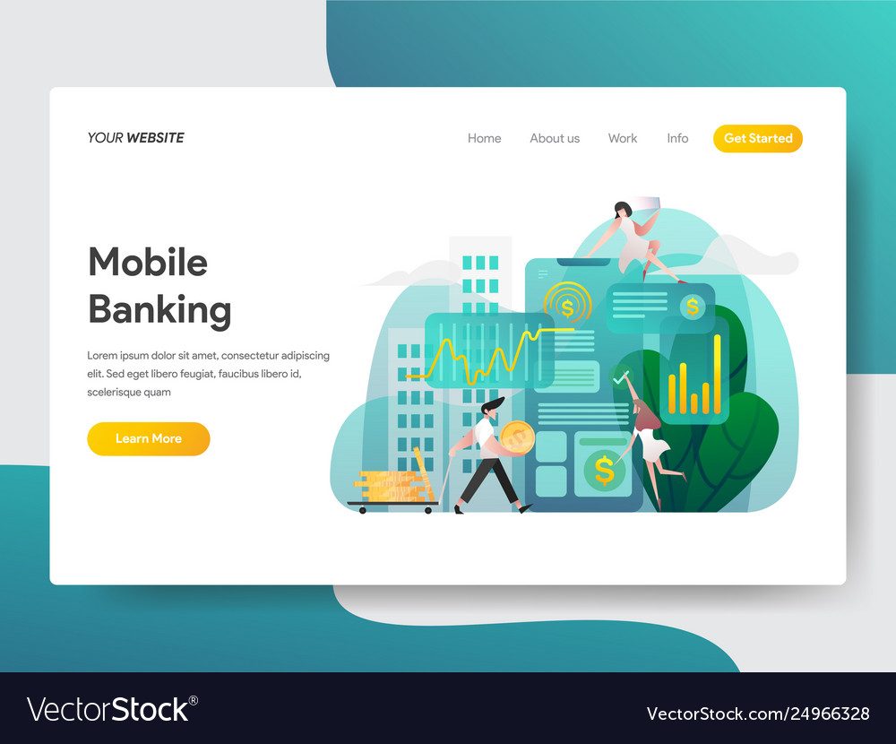 Landing page template mobile banking concept
