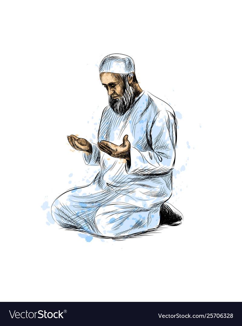 Muslim man praying hand drawn sketch on white