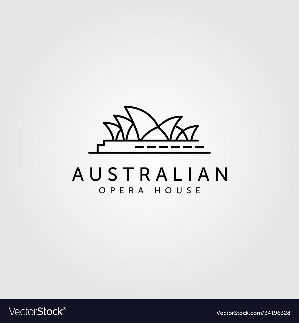 Opera house line art logo australian landmark