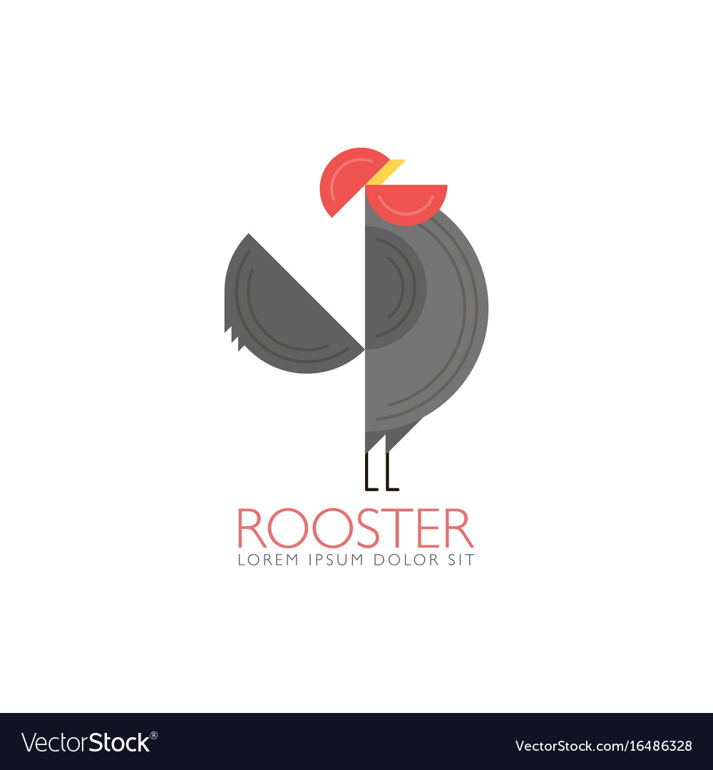 Rooster and cock flat design style template of