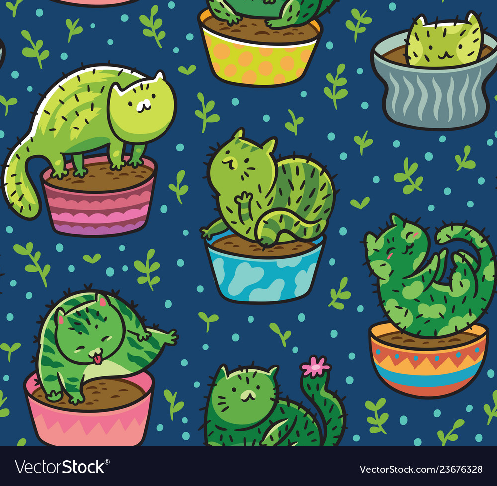 Seamless pattern with succulents and vector