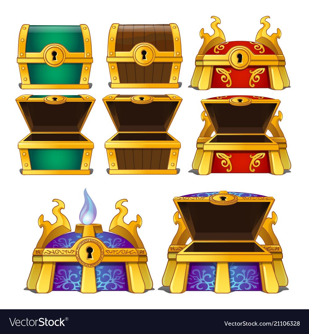 Set closed and opened colored chests isolated
