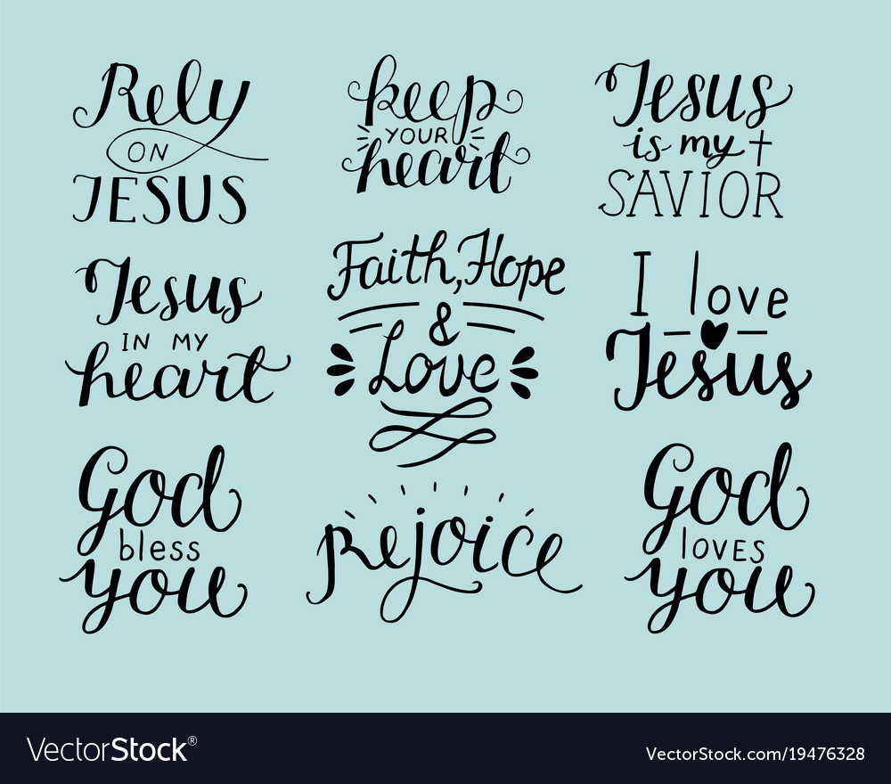 set of hand lettering christian quotes god bless
