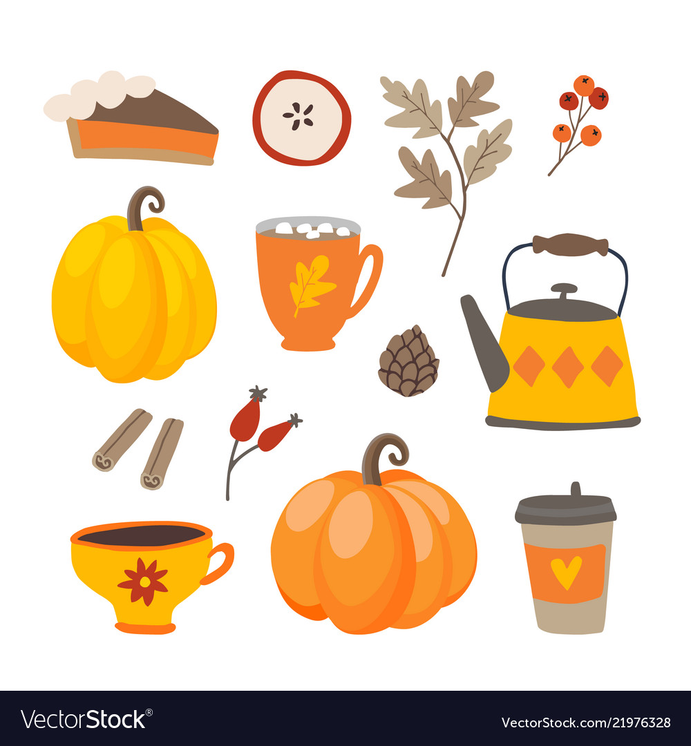 Set of cute cartoon thanksgiving day icons with