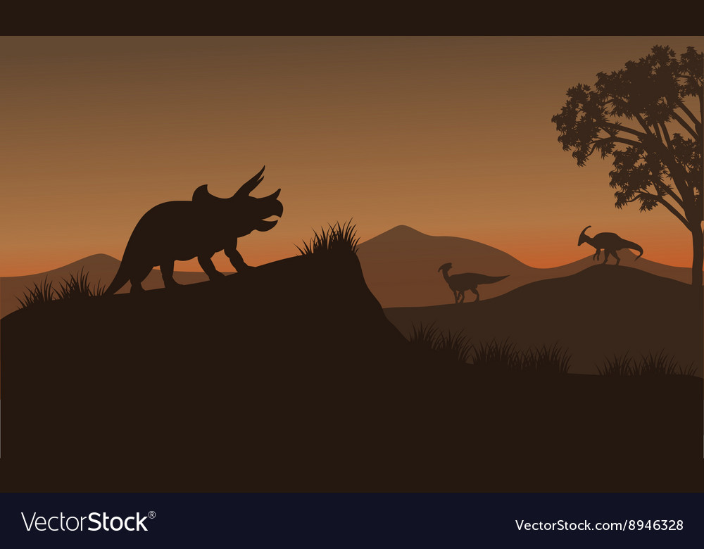 Triceratops and Eoraptor silhouette in hills