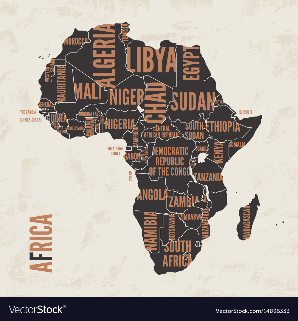 db42330f2b Africa vintage detailed map print poster design Vector Image