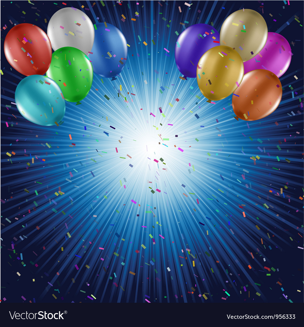 Balloons and confetti vector image