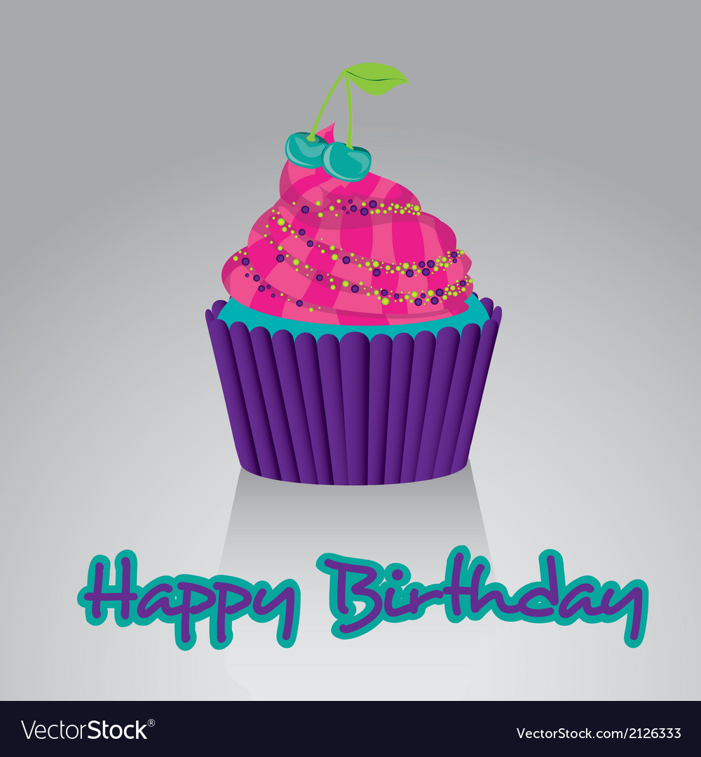 Cupcake Happy Birthday Bright Colors On White Back Vector Image