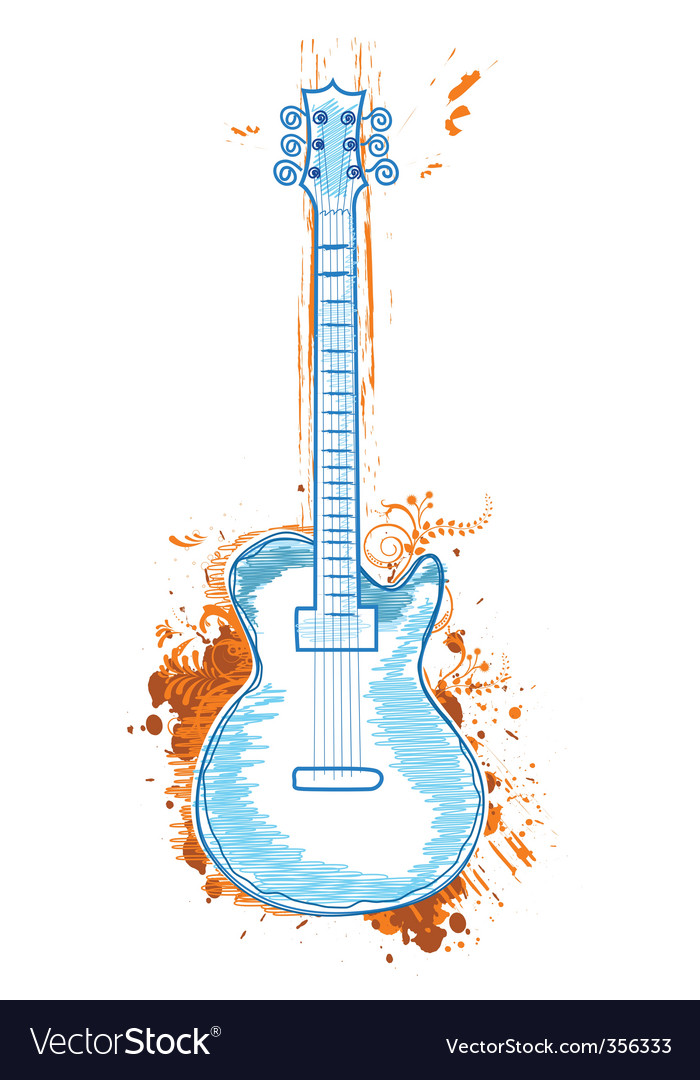 Floral guitar vector image