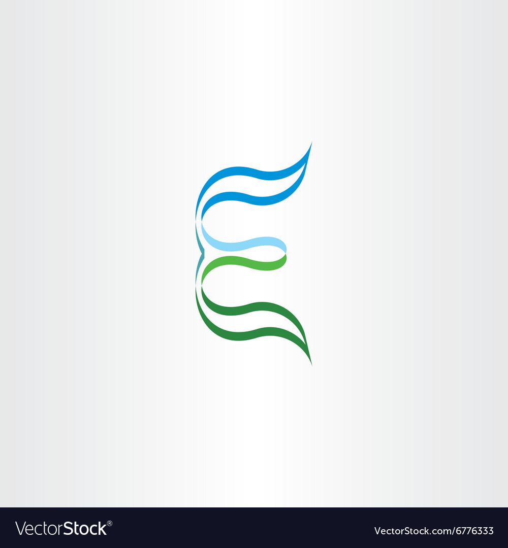 Green blue stylized logo letter e logotype icon