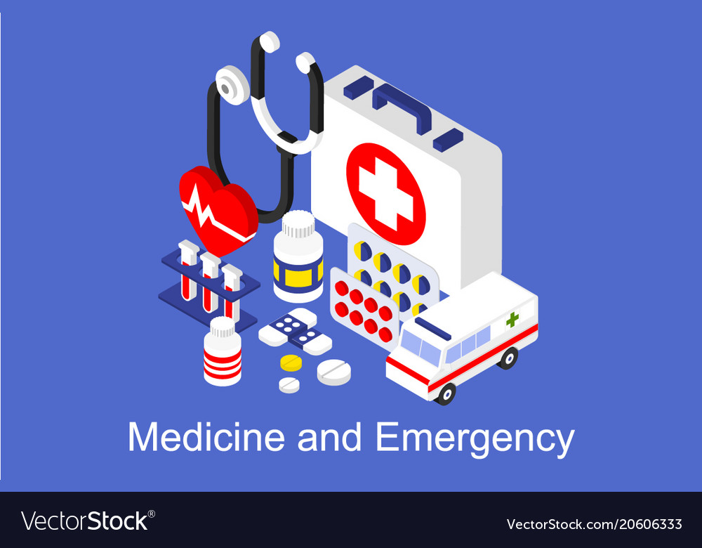 Medicine and emergency banner with medical