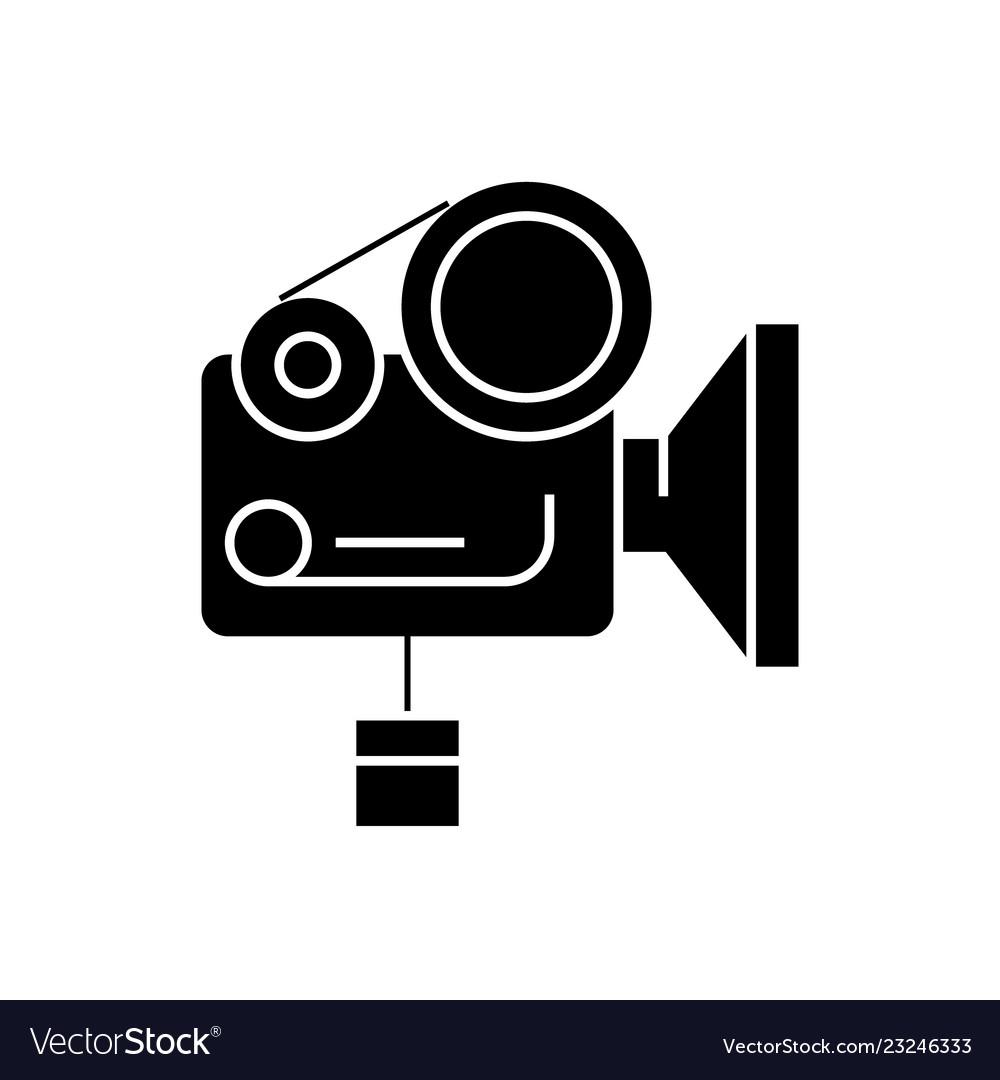 Movie camera black concept icon movie