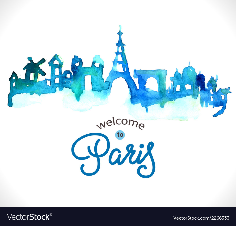 Paris skyline watercolor background