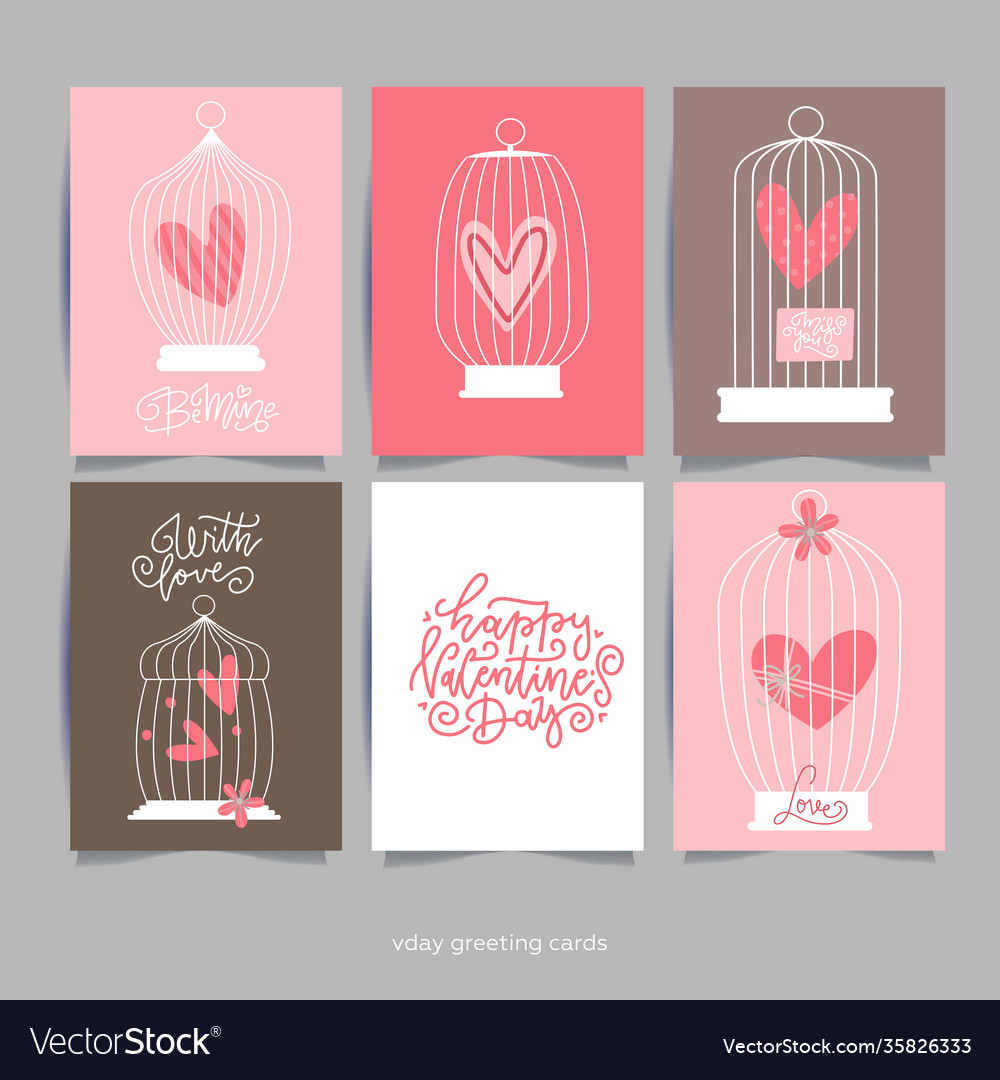 Romantic card with heart in cages for wedding