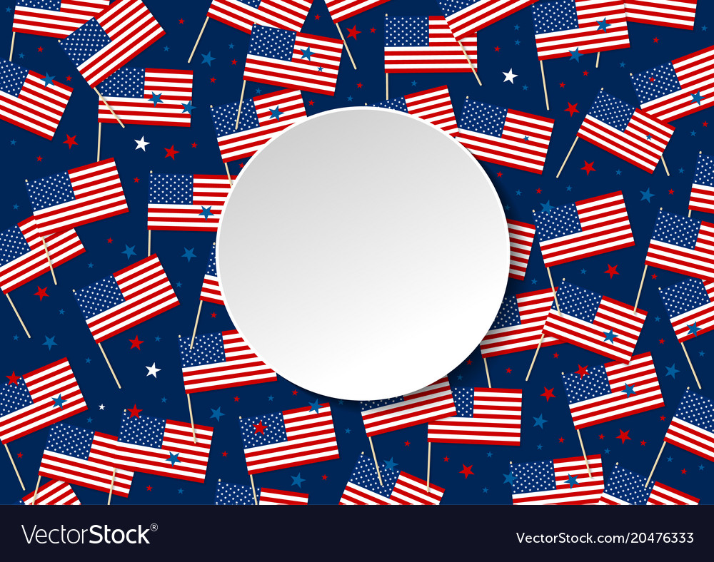 Usa or america flag and star isolated on blue