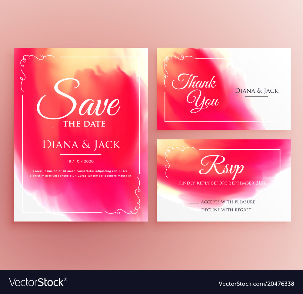 Abstract watercolor wedding invitation card set Vector Image