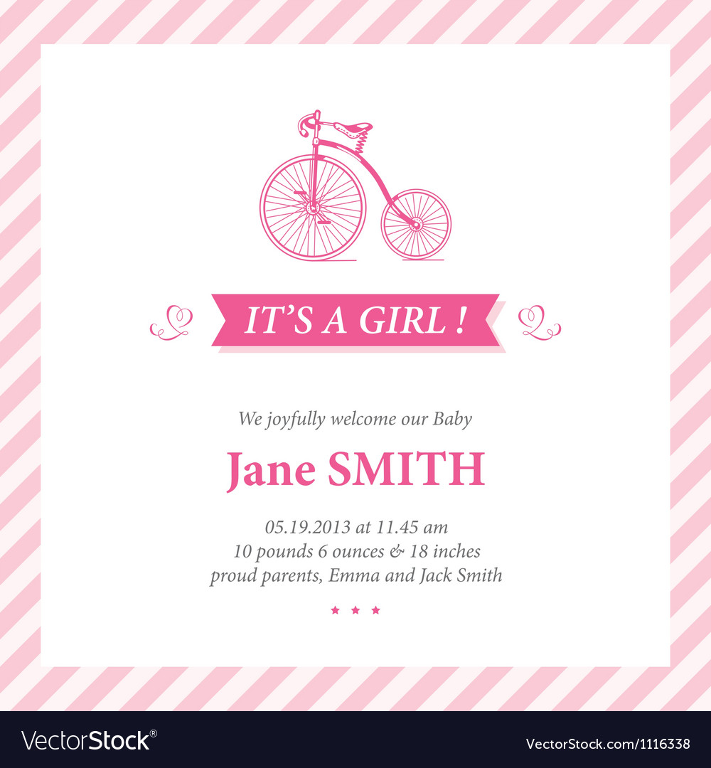 Baby announcement card it s girl