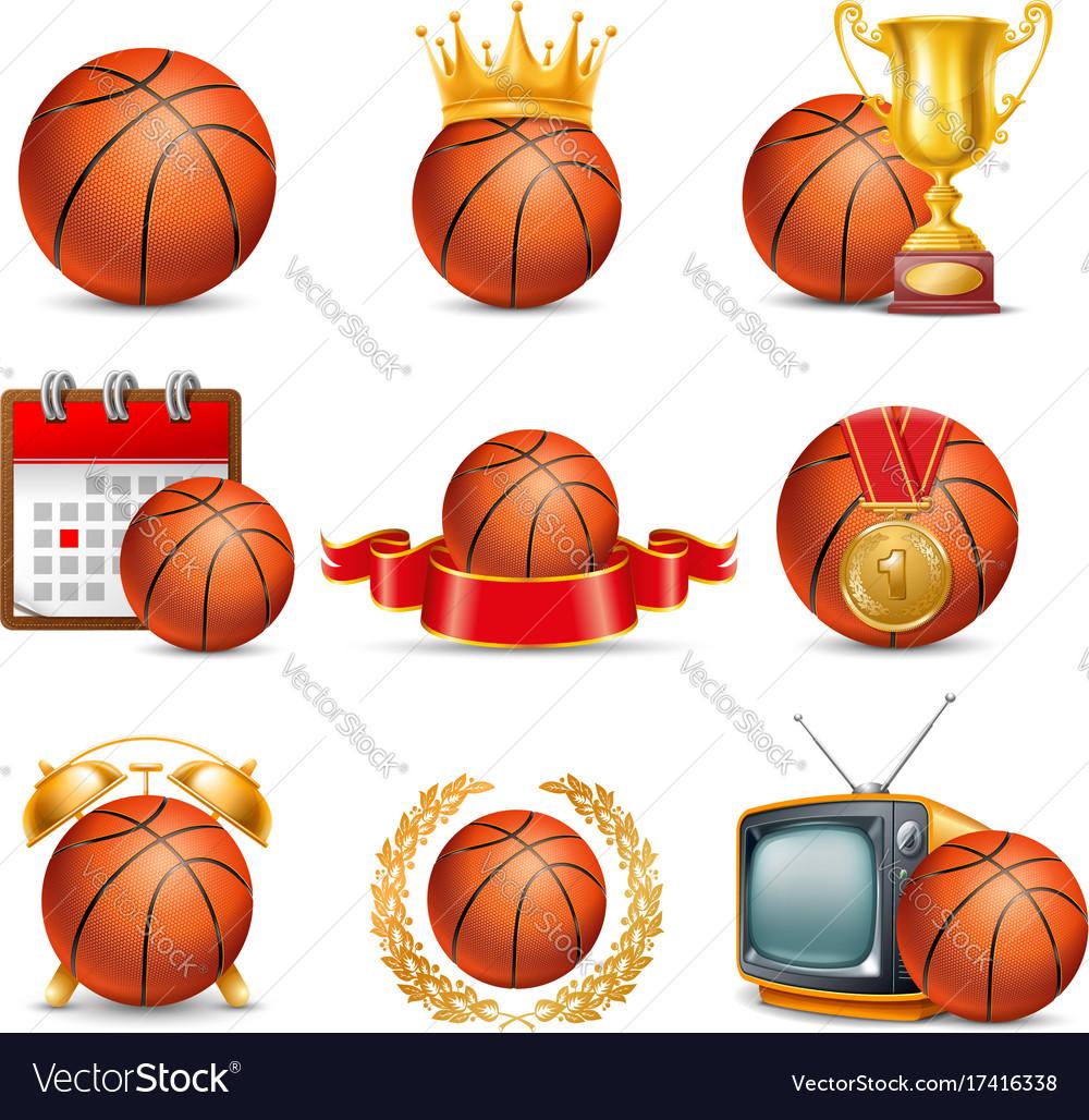 Basketball ball icon set