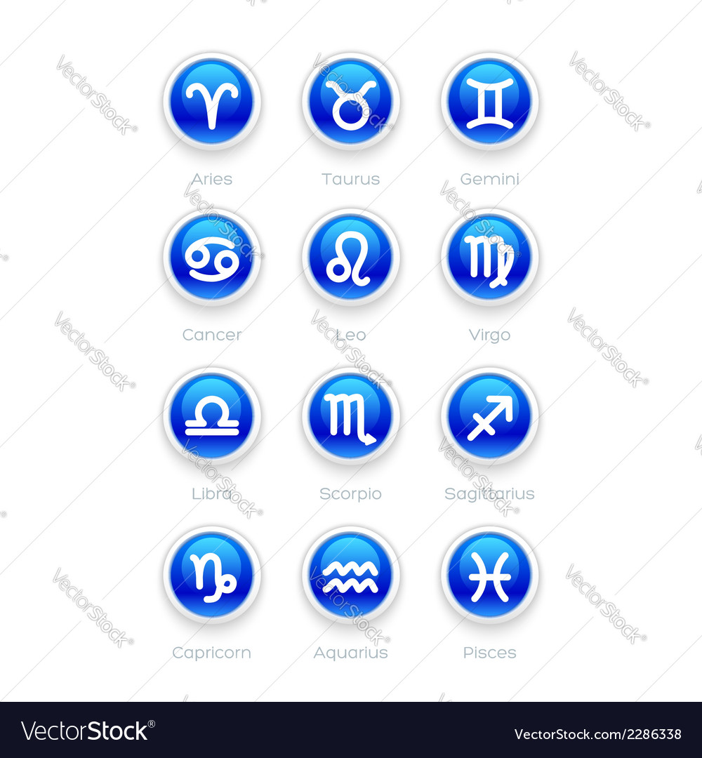 Buttons with Zodiac Symbol Icons