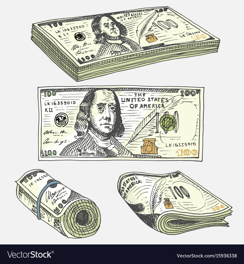 Detailed currency banknotes or american franklin