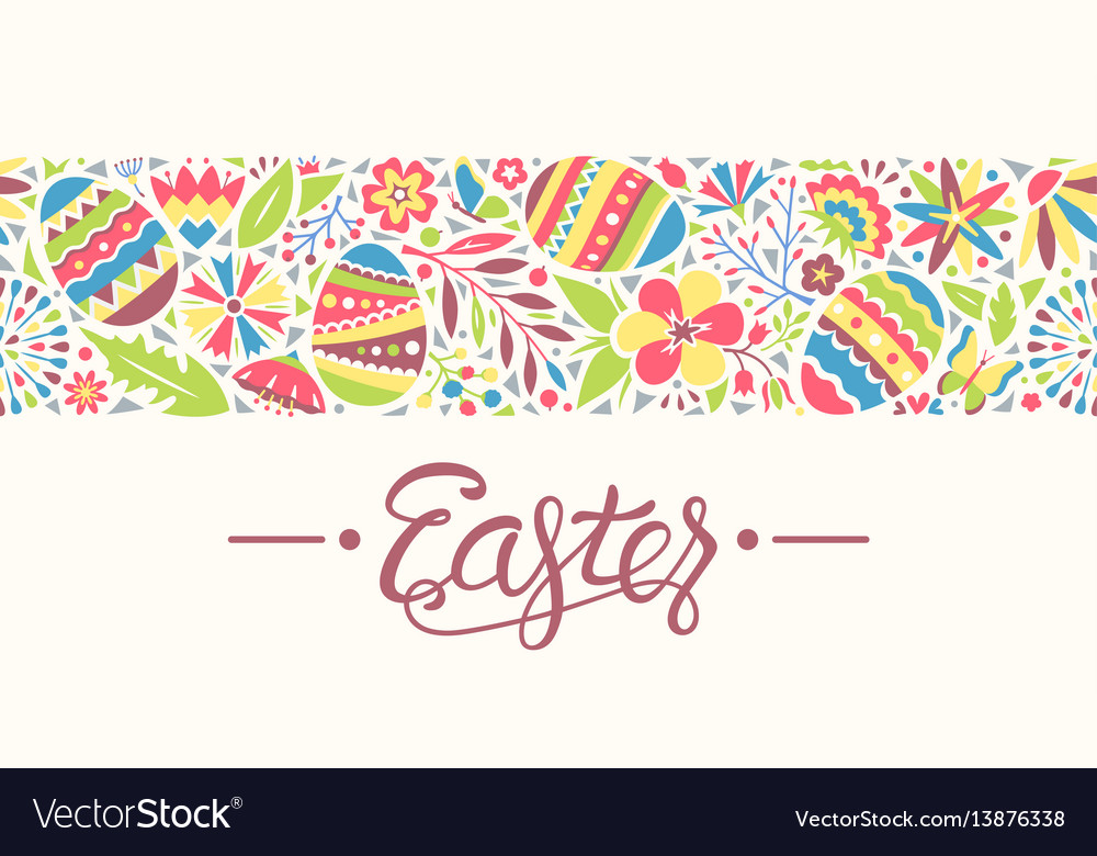 Easter seamless ornament line with eggs and