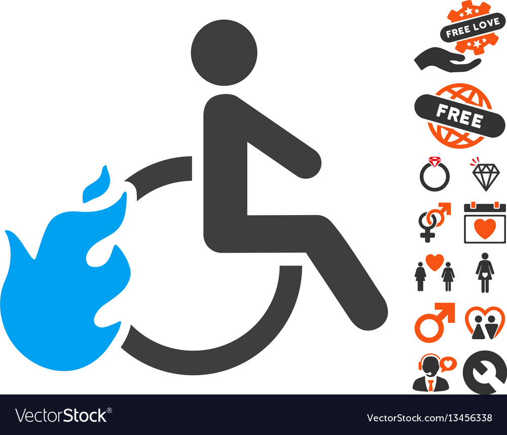 Fired disabled person icon with love bonus vector image