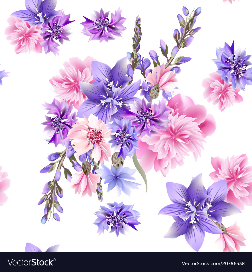 Floral seamless pattern with field flowers