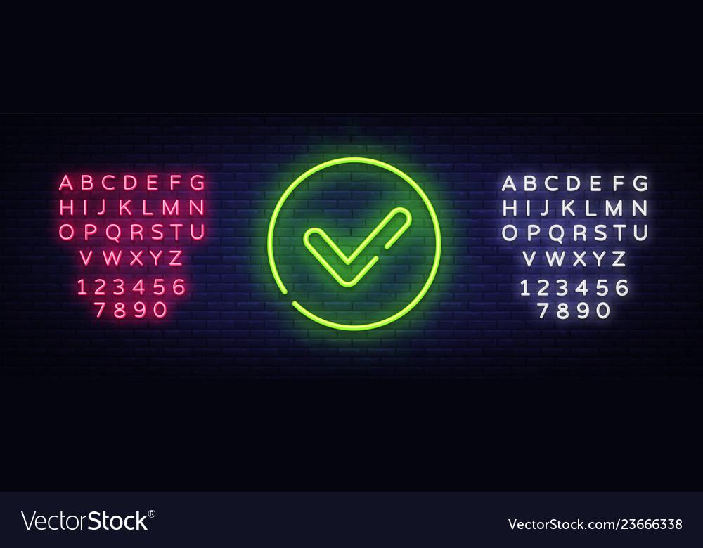 Green check mark neon sign check list