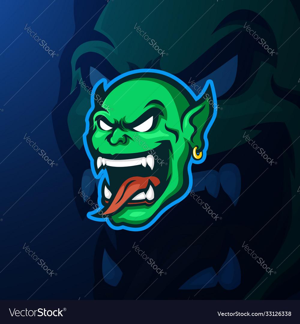 Green goblin head mascot logo template