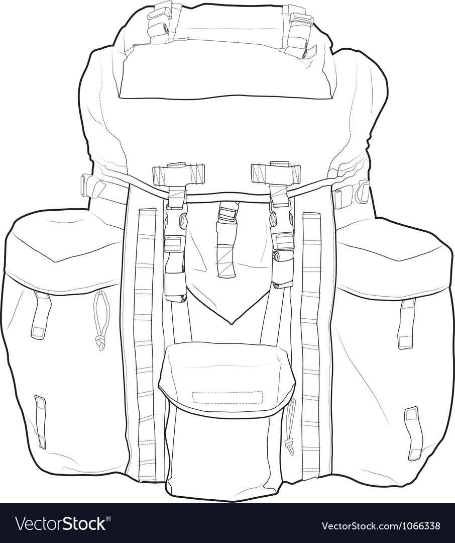Military or hiking backpack outline