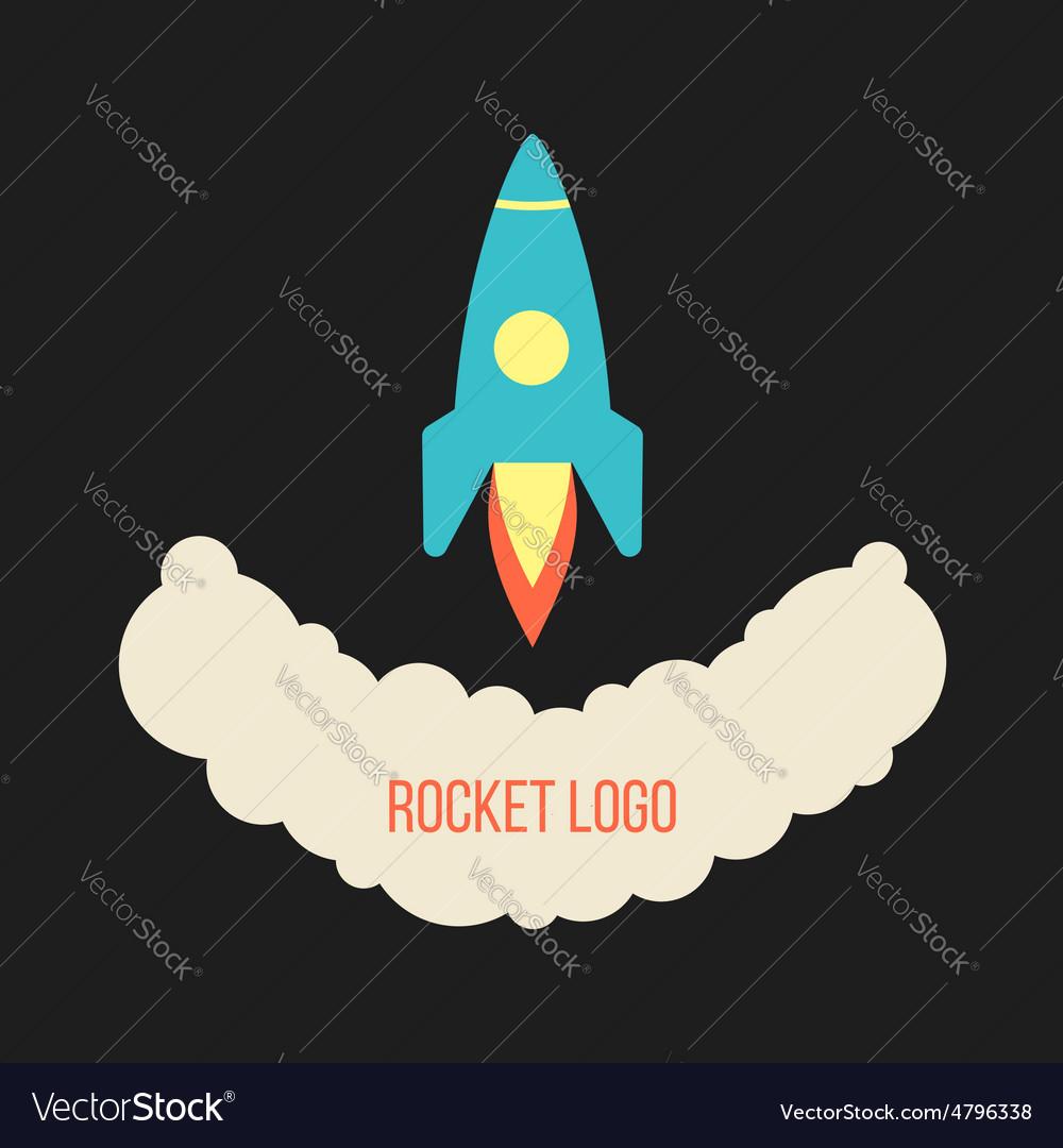 Rocket launch logo isolated on black background vector image