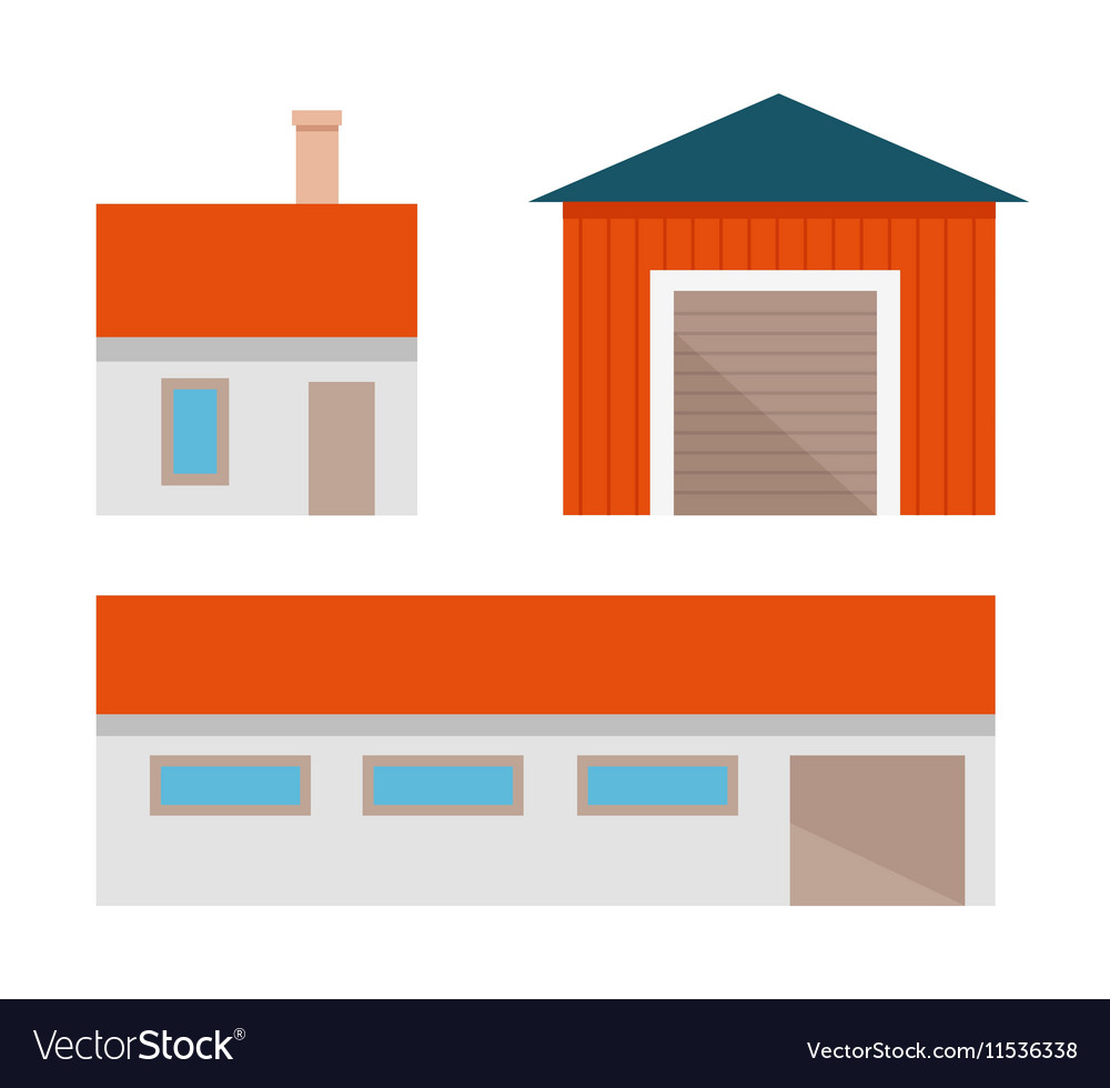 Set of farm constructions vector image
