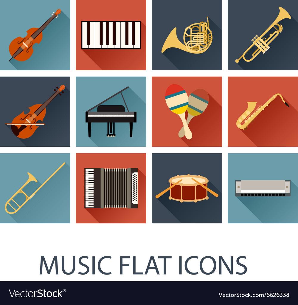 Set of flat music icons