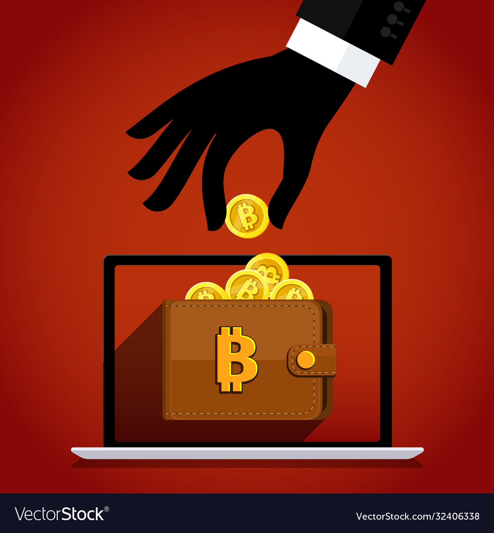 Thief and crypto currency steal virtual money