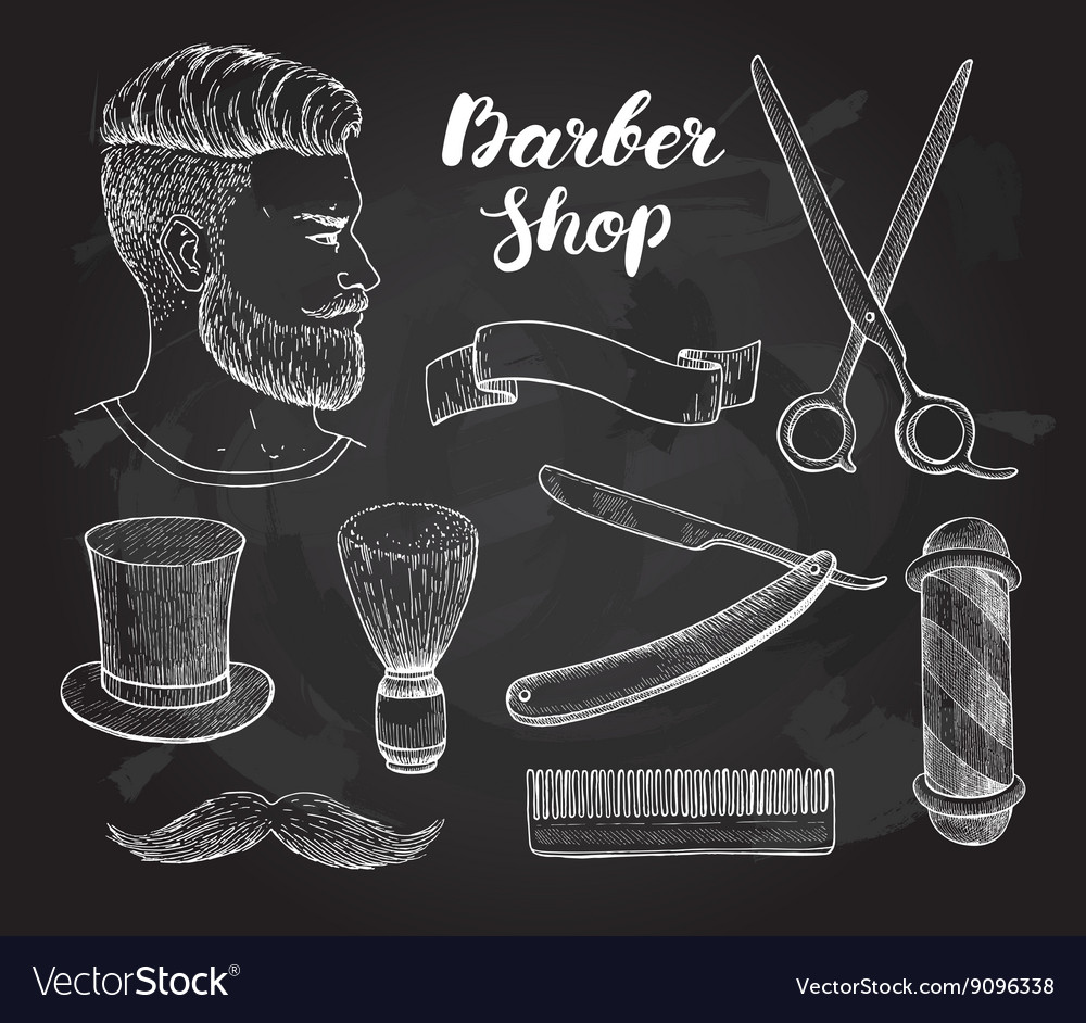 Vintage hand drawn Barber Shop set on vector image
