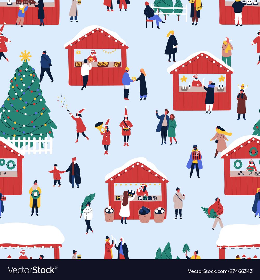 Christmas street fair flat seamless pattern