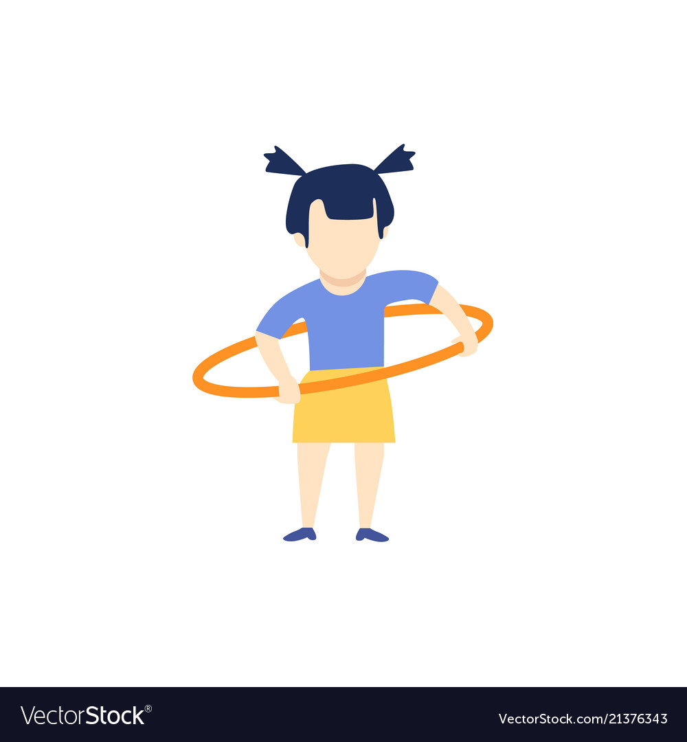 Flat girl kid doing hula hoop exercise