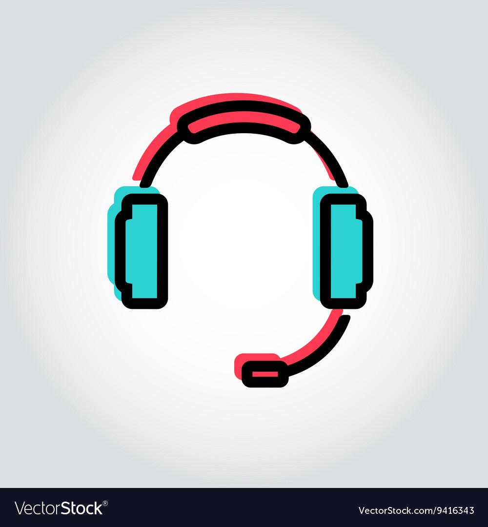 Flat line headset icon