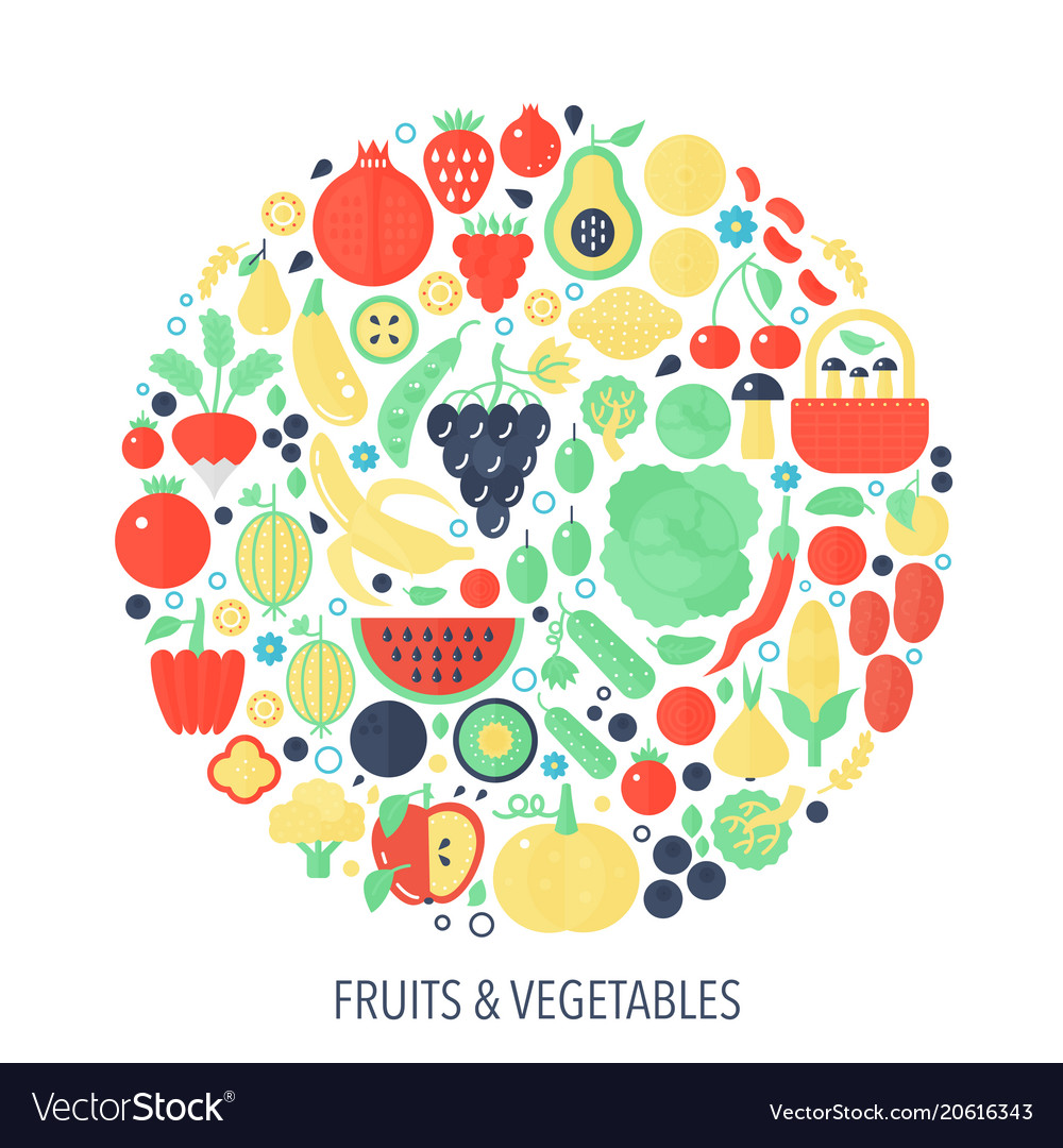 Fruits vegetables flat infographics icons in
