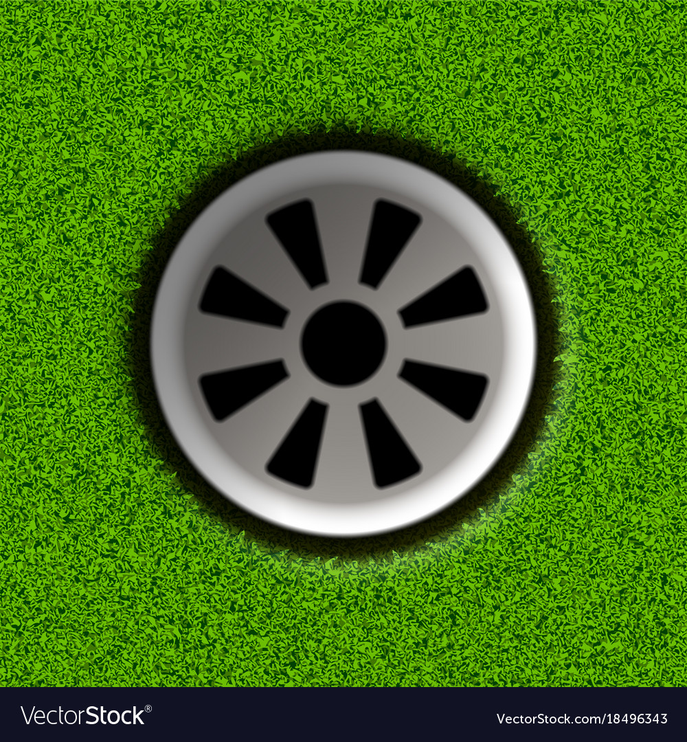 Golf hole on field