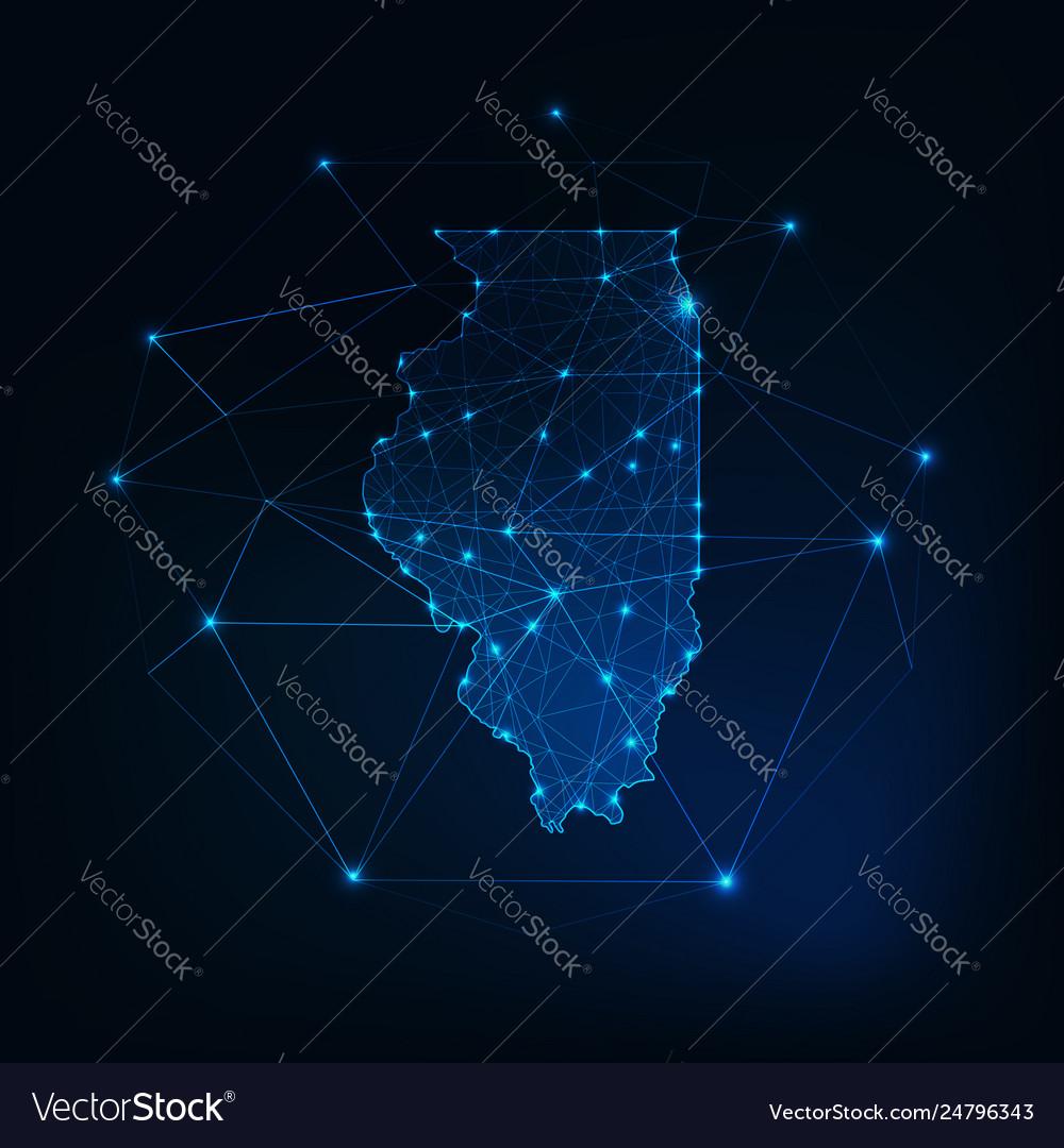 Illinois state usa map glowing silhouette made of on detroit map usa, the word usa, hispanic population map usa, new york on map of usa,