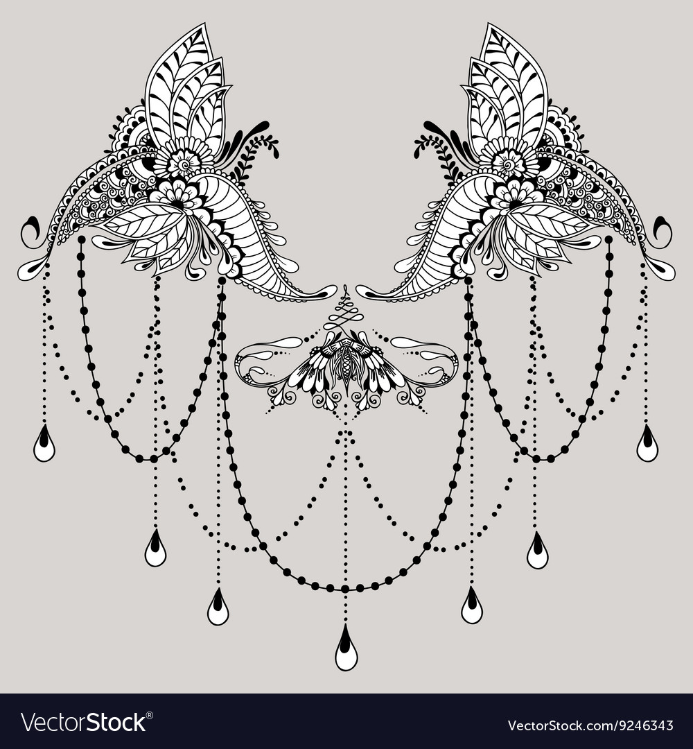Mehndy Flowers Tattoo Template Vector Image