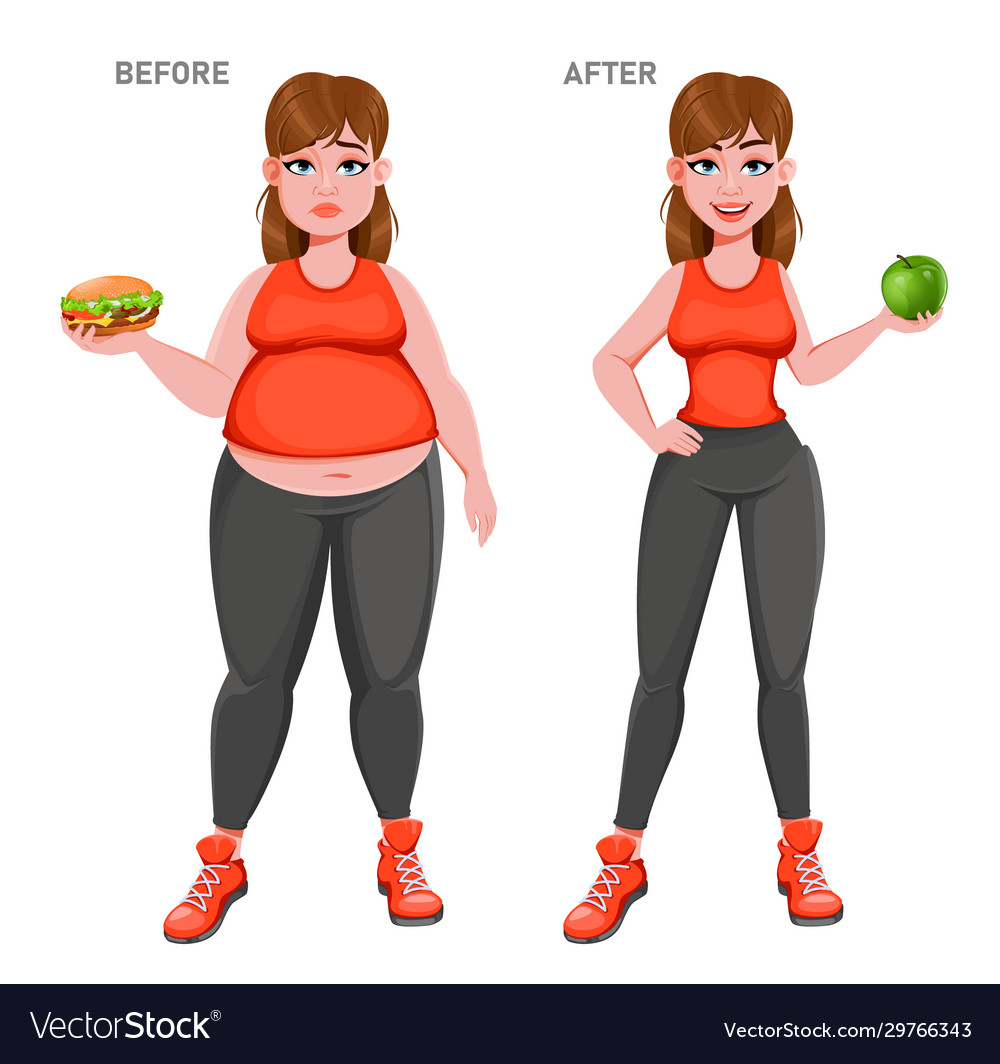 Nice girl before and after weight loss Royalty Free Vector