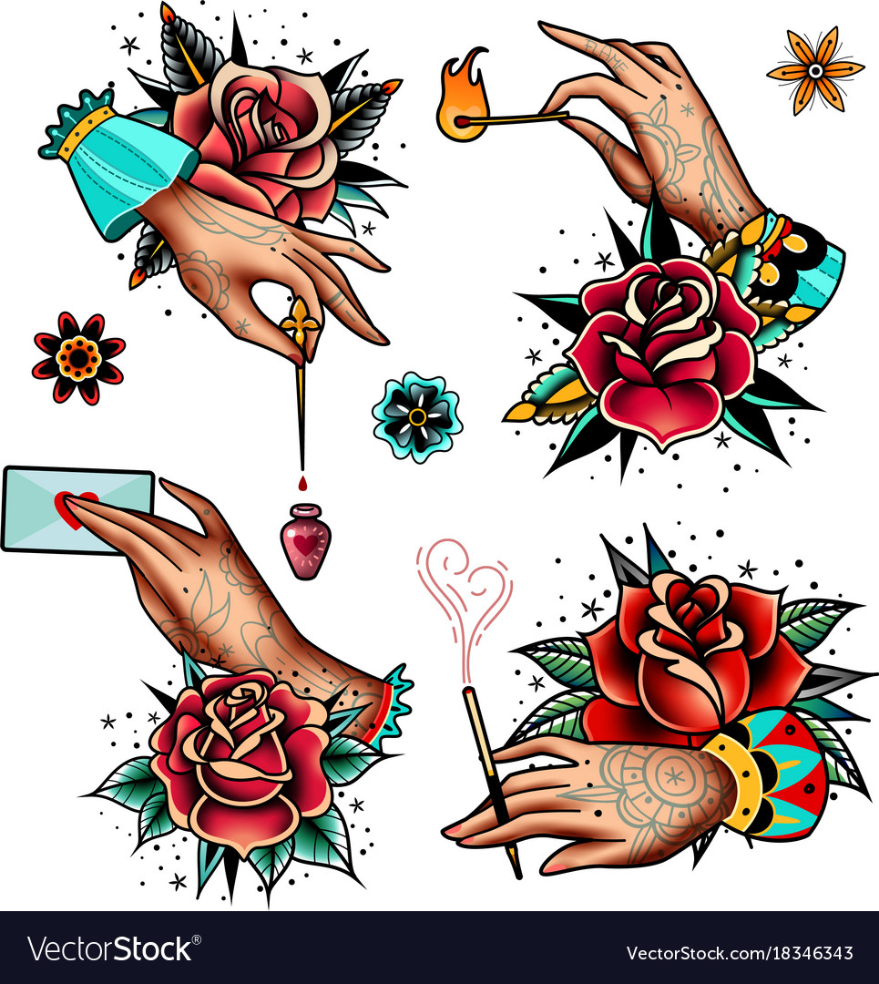 Old school tattoo roses and hands set vector