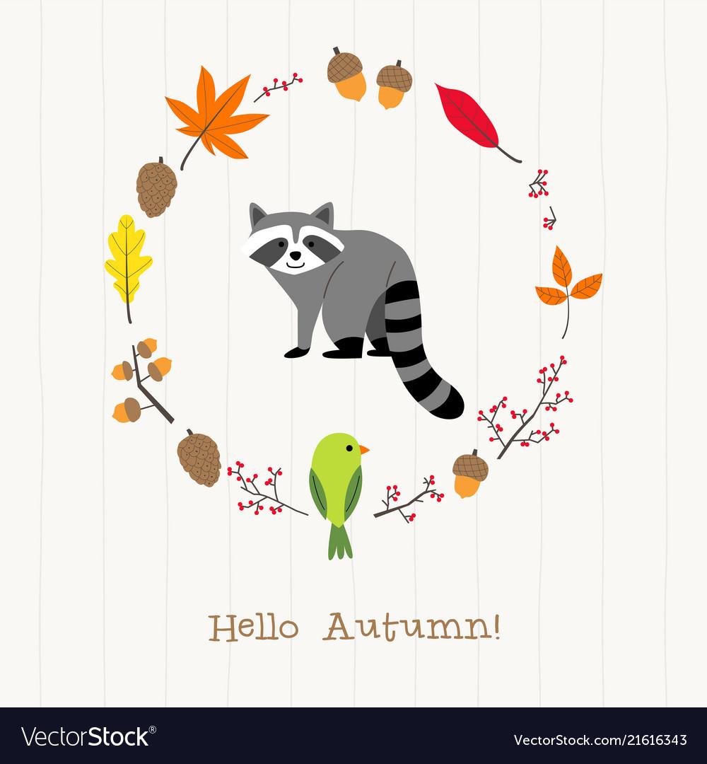 Raccoon with autumn frame card