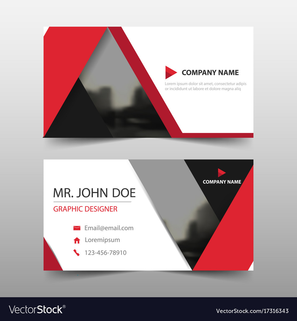Red triangle corporate business card name card vector image colourmoves