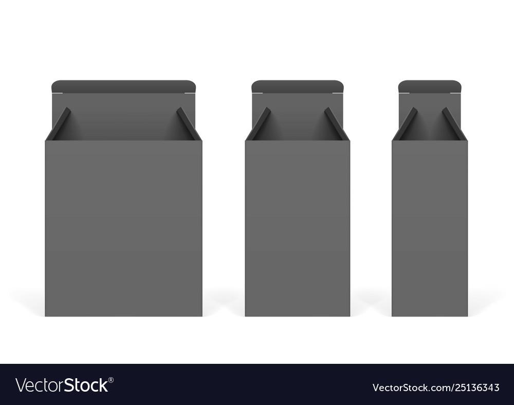 Set black cardboard boxes mockups